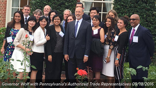 Governor Wolf with Pennsylvania's Authorized Trade Representatives 09/19/2016