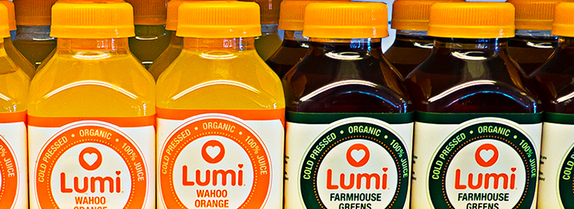 Retail Lumi Juice Bottles on shelf