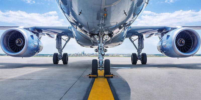 Cargo plane on runway tarmac